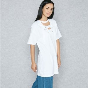 Topshop white choker laceup front tunic top size 6
